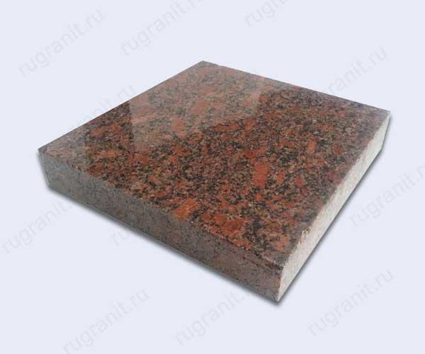 Гранитная плитка полированная, размер 20x20x3 см, цвет красный, новоданиловка